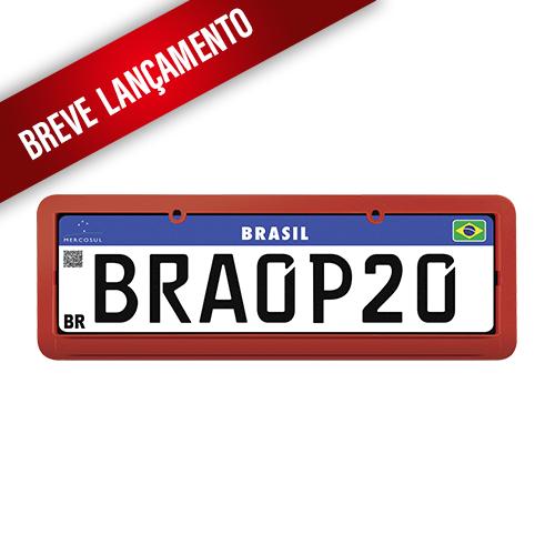 Molduras para Placa Mercosul Vermelha Lisa